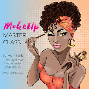 Makeup master class banner with beautiful brown skin tone woman, modern pin up style. Pop-art beauty brown lady with curly hair apply the make-up. Makeup brushes, cosmetics set hand drawn vector illus