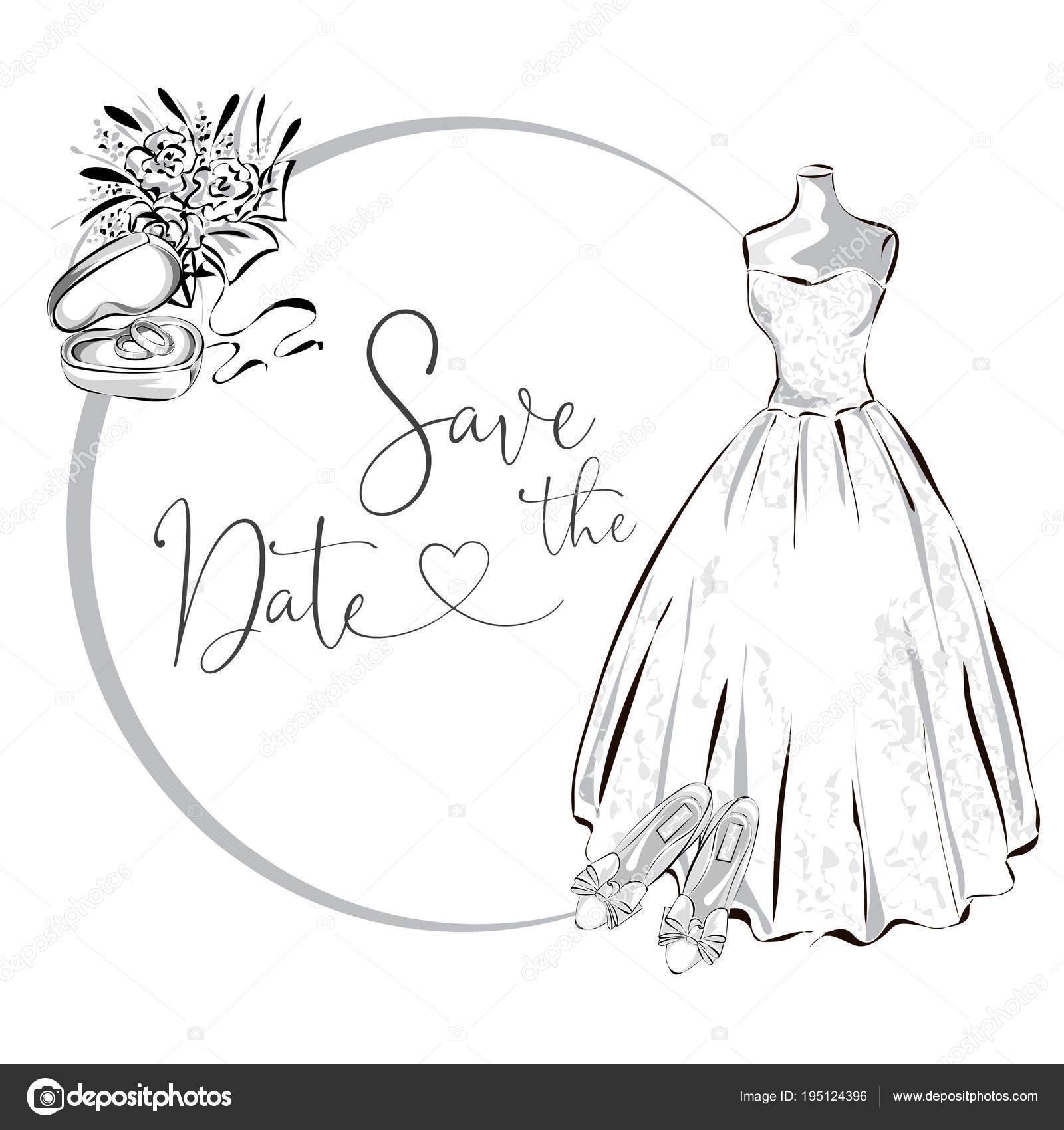 Wedding clipart set with wedding dress, flowers and wedding rings ...