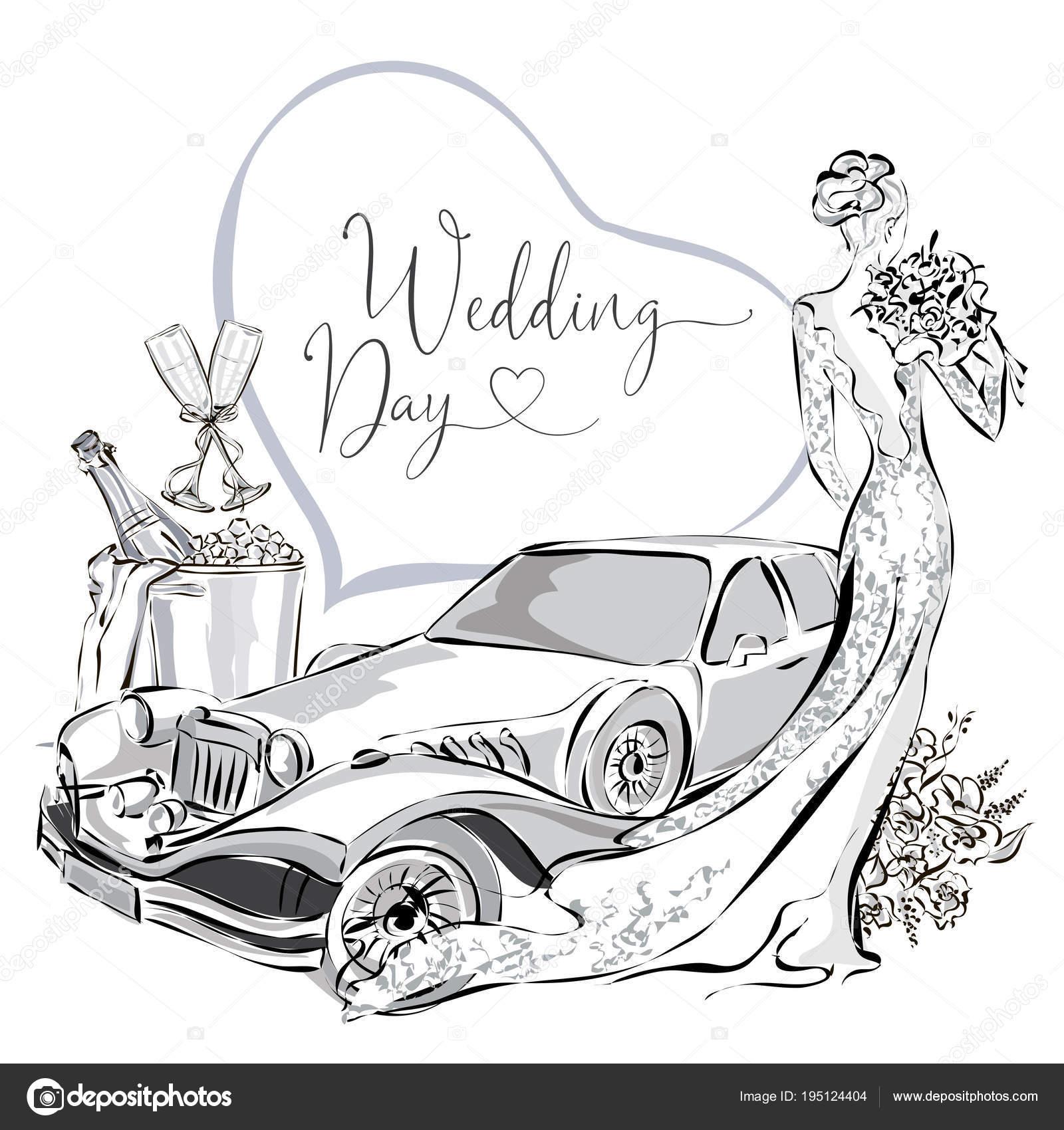 Hochzeit Clipart Set Mit Schonen Braut Hochzeit Limousine Und Sekt