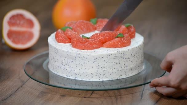 Domácí dort s grapefruitu. Vyjmout dort