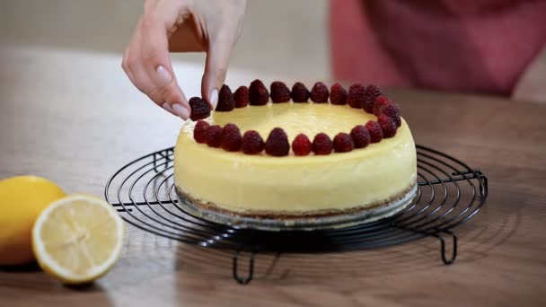 Tvarohový koláč v New Yorku s červenými třešněmi. Zdobení newyorský tvarohový dort s malinami