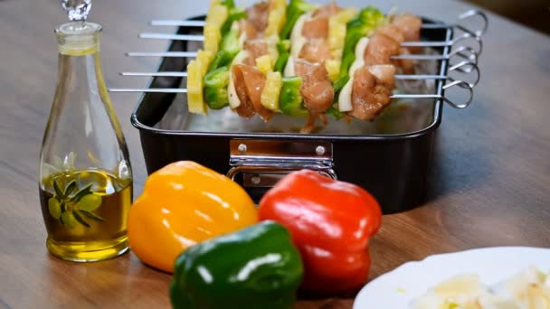 Raw chicken shashlik on skewers for a festive meal