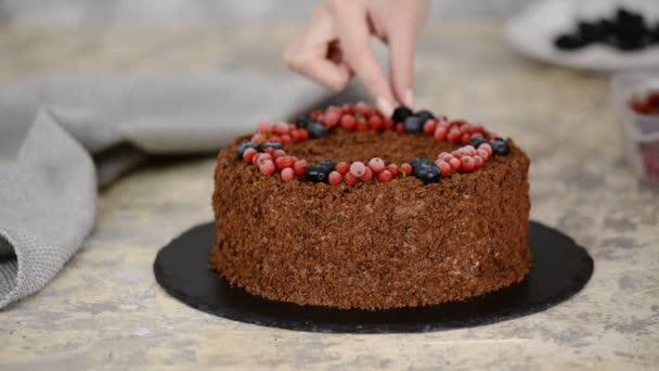 Francia csokoládé Napóleon torta puff tészta pudinggal. Díszített torta bogyókkal.