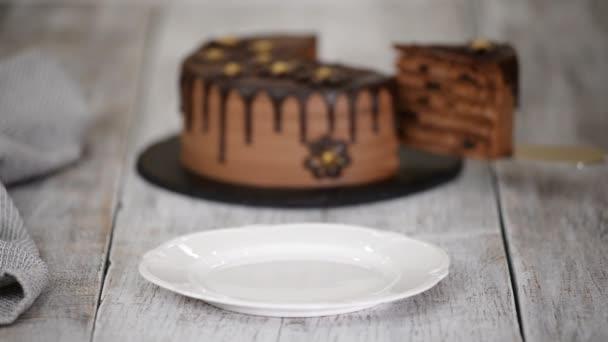 Kousek čokoládového dortu se švestkami a rumem.