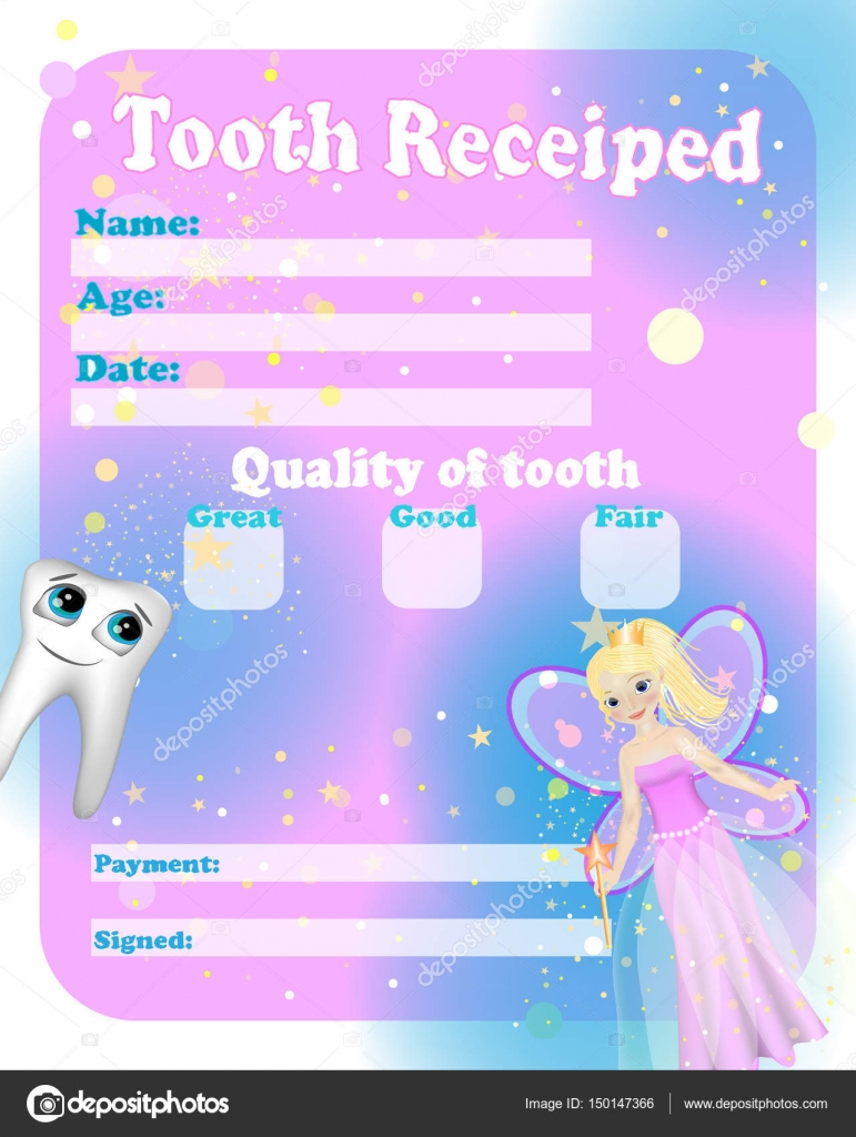 Certificate tooth fairy cute tooth fairy receipt certificate certificate tooth fairy cute tooth fairy receipt certificate template with sparkling tooth stock pronofoot35fo Image collections