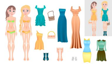 Paper Dolls - friends. Body templates. Dress up paper doll. A young girl in different clothes and hair. Vector detailed illustration.
