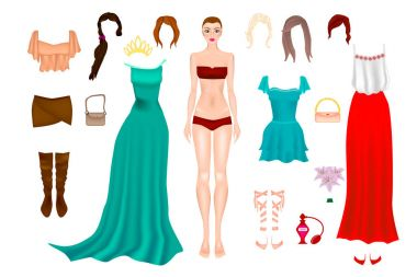 Paper doll with clothes and different hairstyles.