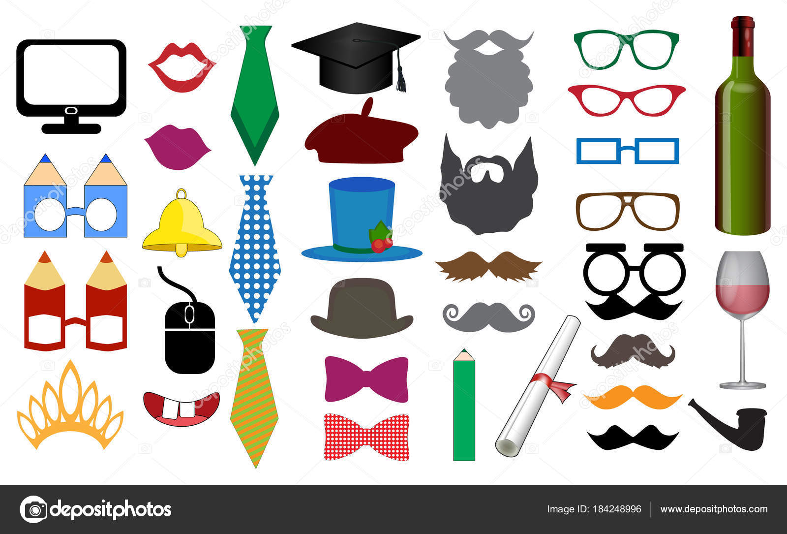 photo booth props scrapbooking vector set graduation parties party