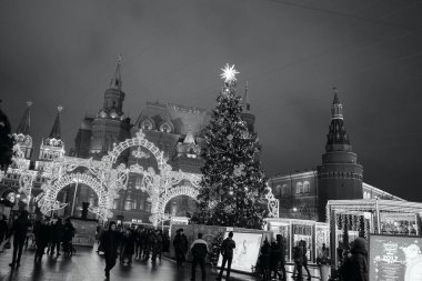 MOSCOW, RUSSIA - DECEMBER 31, 2016: Decorations with Christmas tree and fair to New Year celebration at the Manege Square. Black and white photography