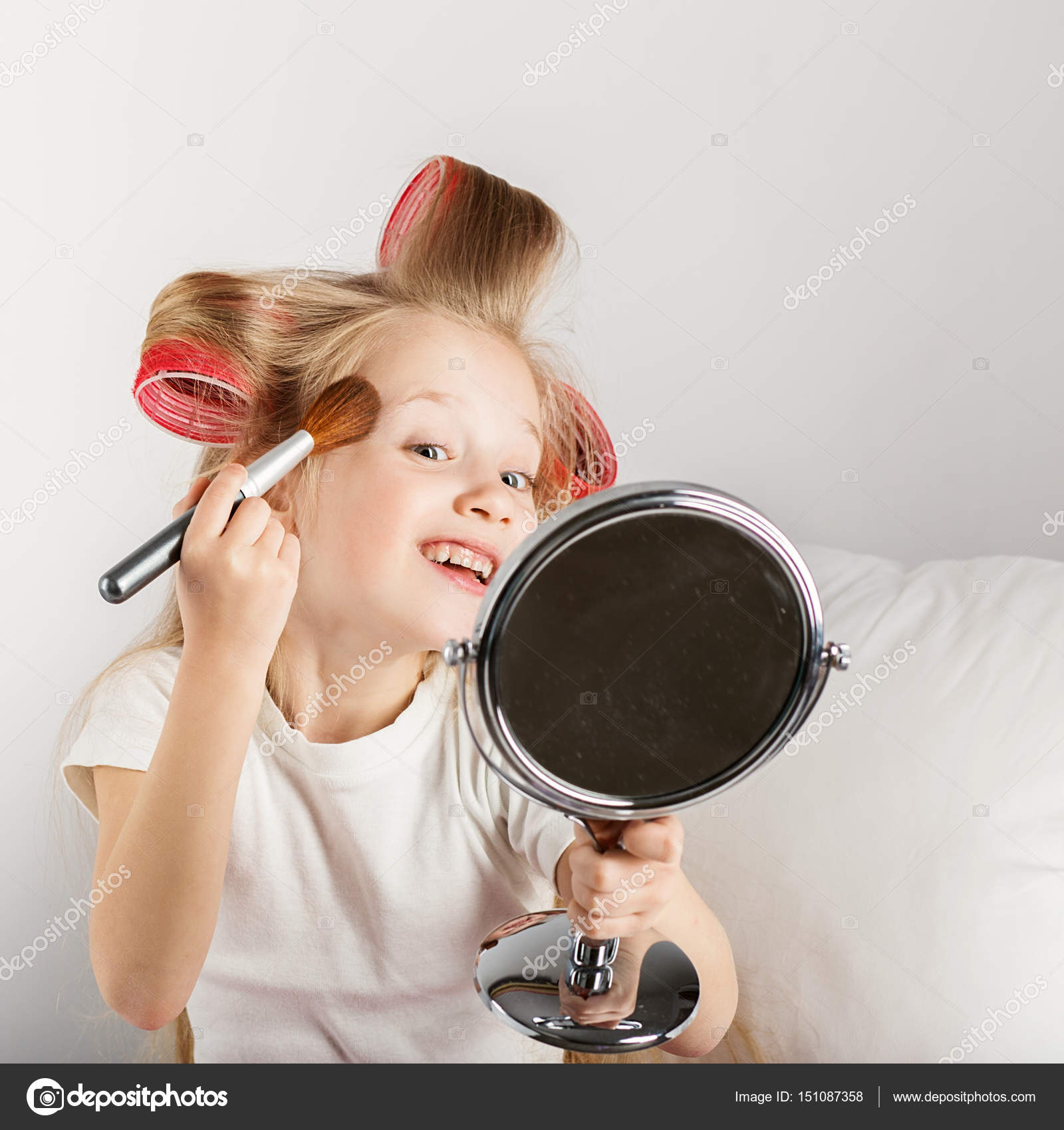 fashion little girl making up with mirror adorable baby girl pl