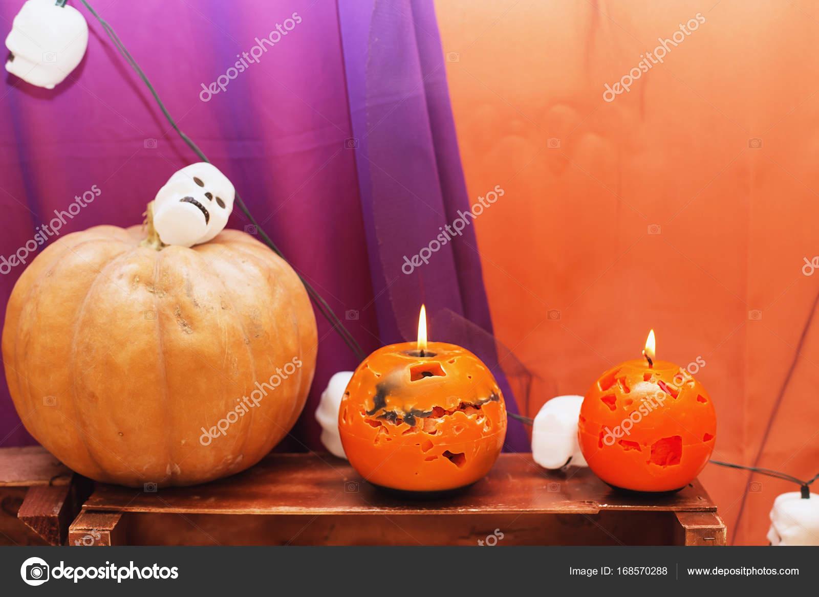 Orange Candles Halloween Pumpkin Garland Shape Skulls Textured Surface Front Stock Photo C Natazhekova 168570288