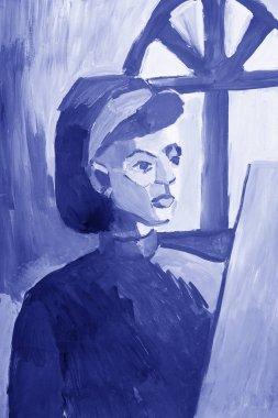 "Картина, постер, плакат, фотообои ""живопись молодой девушки в монохромных цветах . "", артикул 177905388"
