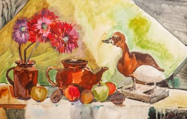 illustration with a teapot, flowers, fruits and stuffed duck
