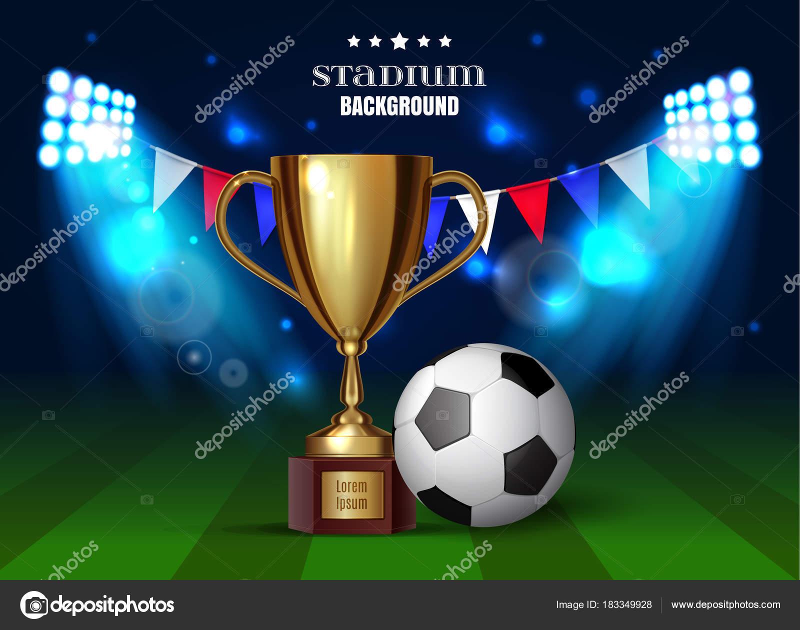 Copa Fútbol Campeonato Fútbol Balón Fútbol Con Una