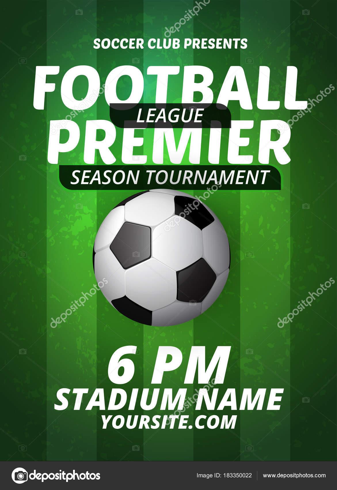 soccer league flyer design sports invitation template vector stock