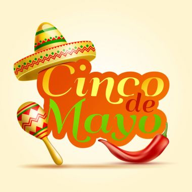 Cinco De Mayo lettering celebration vector background with sombrero, chili paper, maracas  royalty free stock illustration for greeting card, ad, promotion, poster, flyer, social media, marketing.