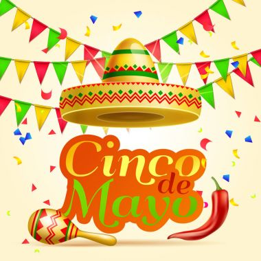 Cinco De Mayo lettering celebration vector background with sombrero, chili paper, garland, confetti ,maracas  royalty free stock for greeting card, ad, promotion, poster, flyer, social media