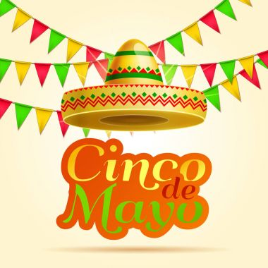 Cinco De Mayo lettering celebration vector background with sombrero, chili paper, garland ,maracas  royalty free stock for greeting card, ad, promotion, poster, flyer, social media
