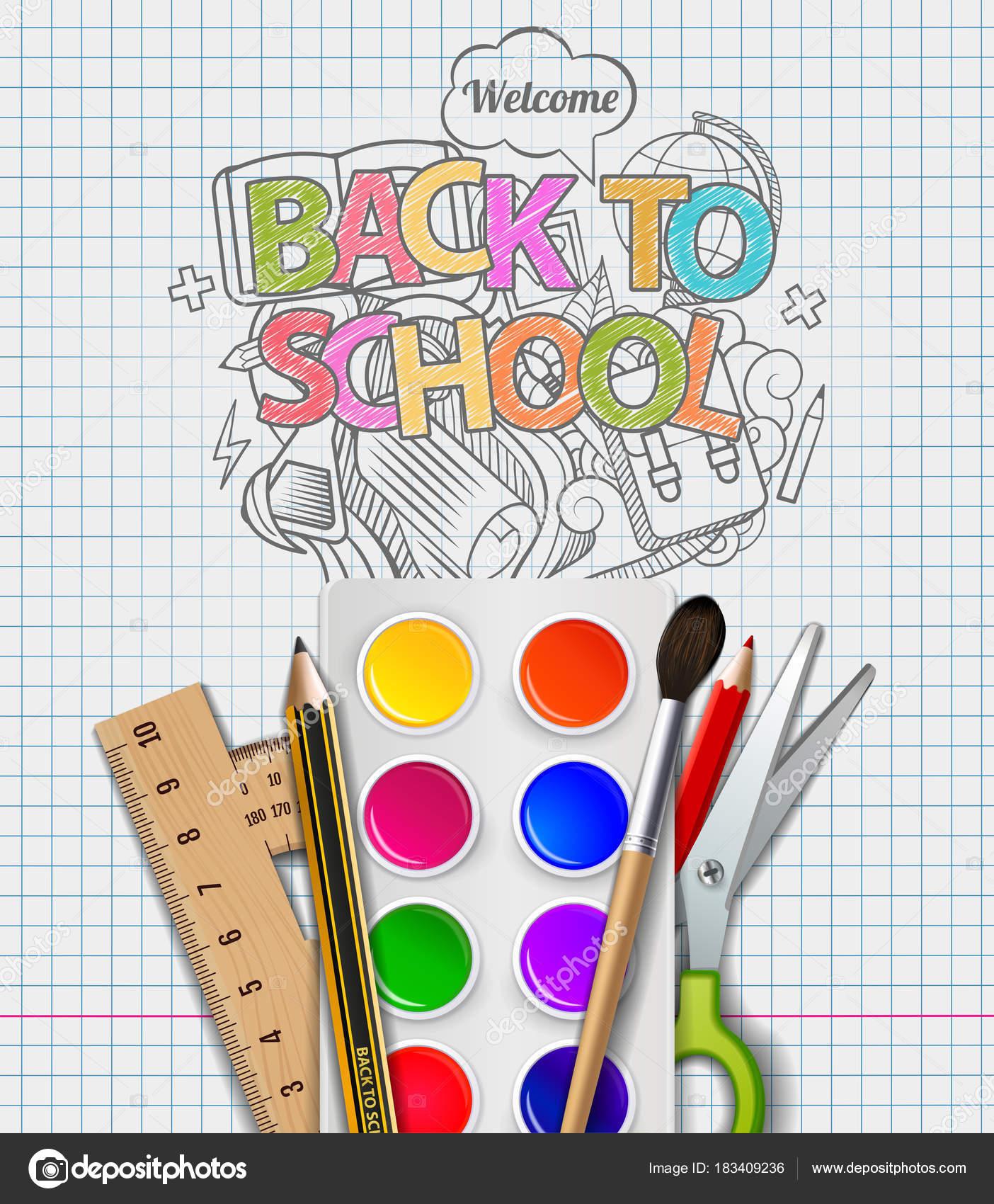 Handgezeichnete zurück zu Schule skizzenhaft Notebook Kritzeleien ...