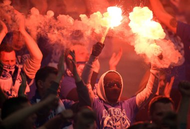 Lech Poznan football supporters.