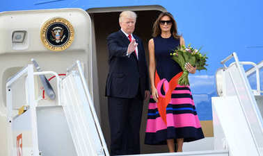 Donald Trump and Melania Trump with visit in Poland