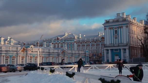 2e20565c7b7f Petersburg Russia January 2018 People Skate Catherine Palace Pushkin Winter  — Stock Video