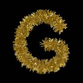 Photo Letter G made from Gold Christmas Tinsel Isolated on Black - 3D Illustration