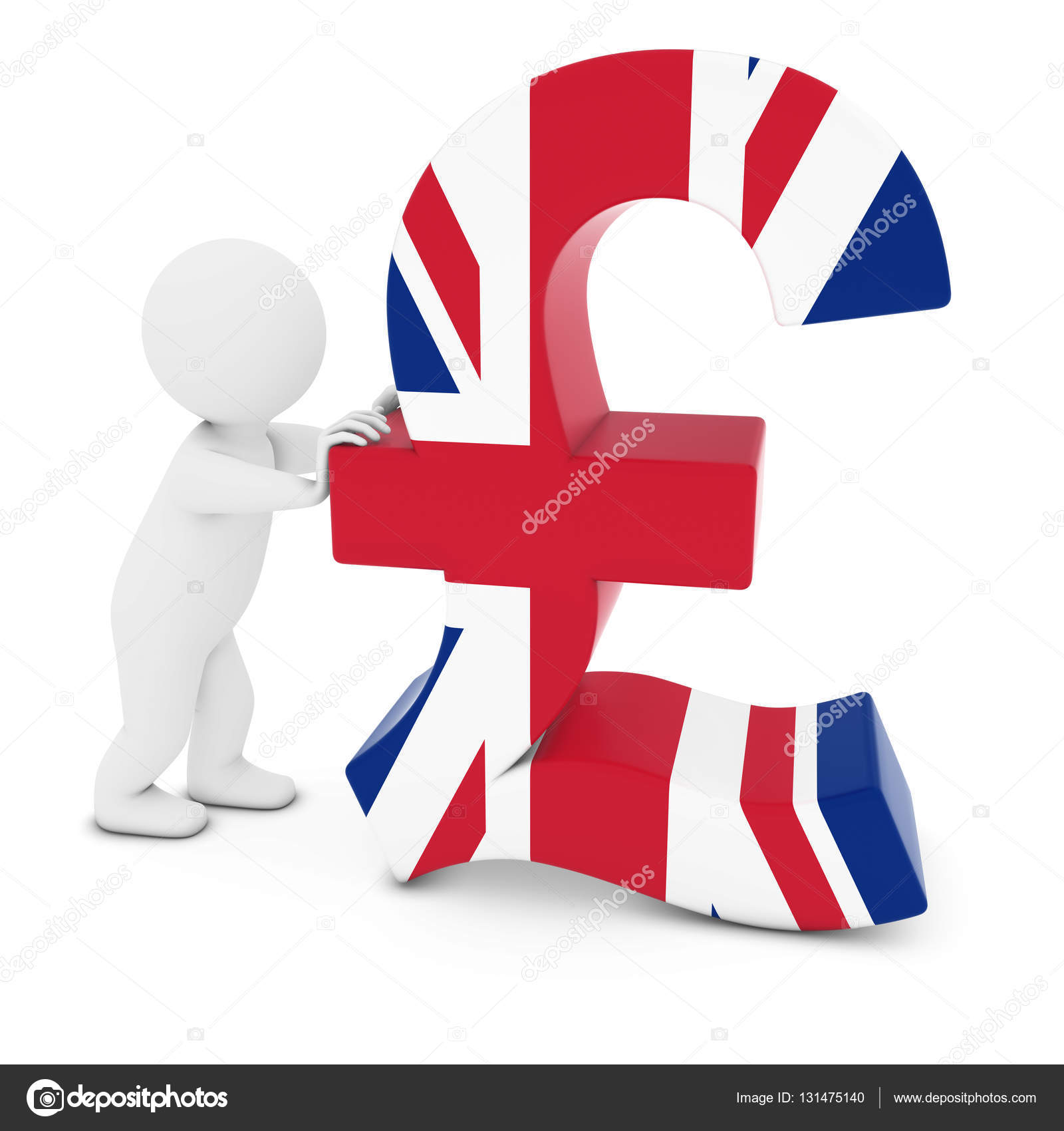 3d Man Character Pushing Uk Flag Pound Symbol 3d Illustration