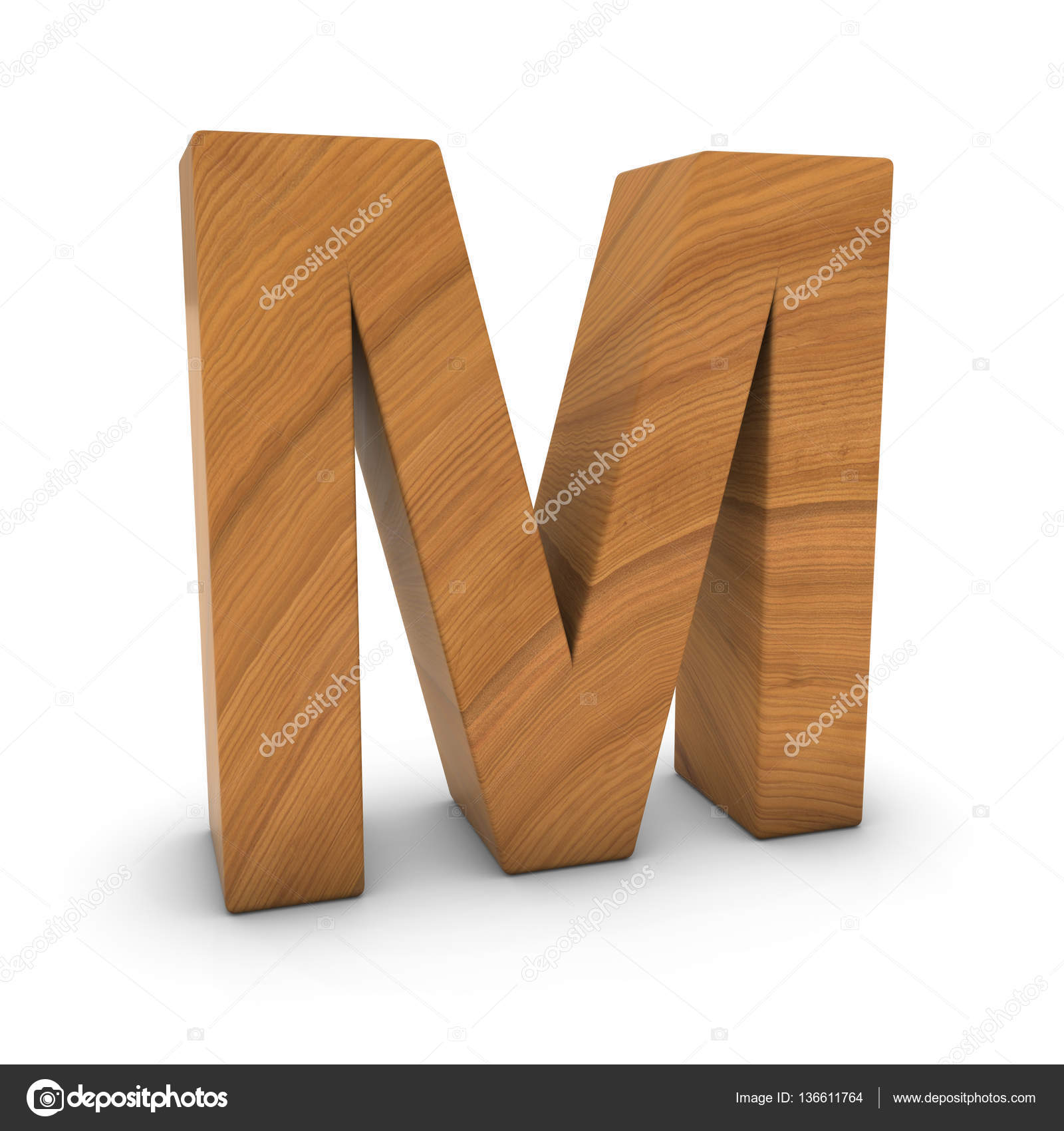 wooden letter m isolated on white with shadows 3d illustration stock photo