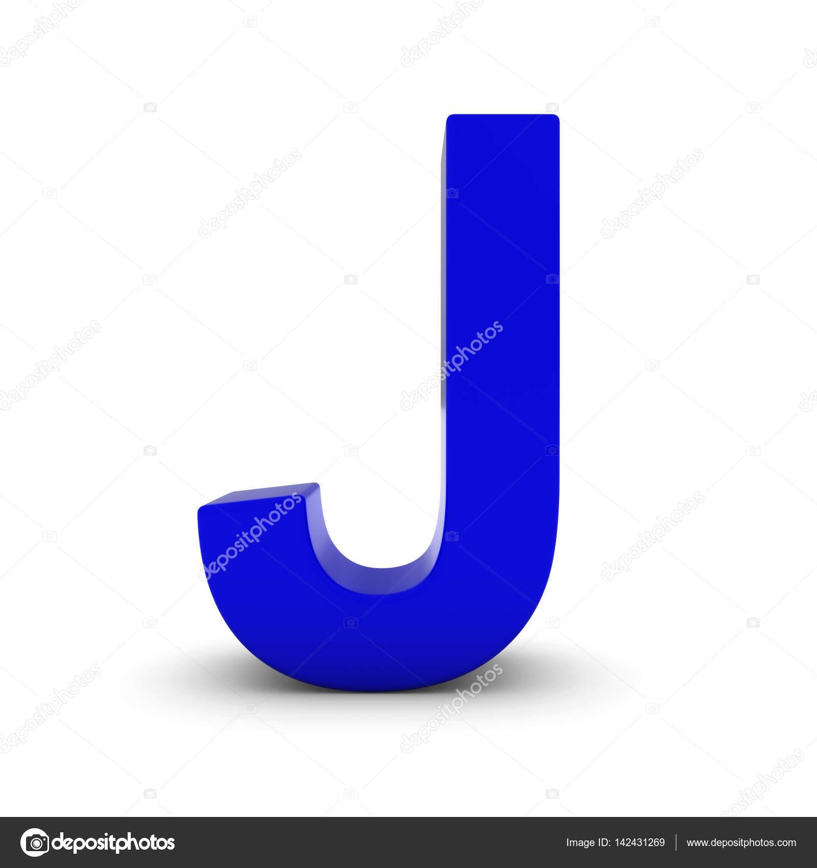 Niebieska Litera J Na Białym Z Cieniami Tle Ilustracja 3d Zdjęcie