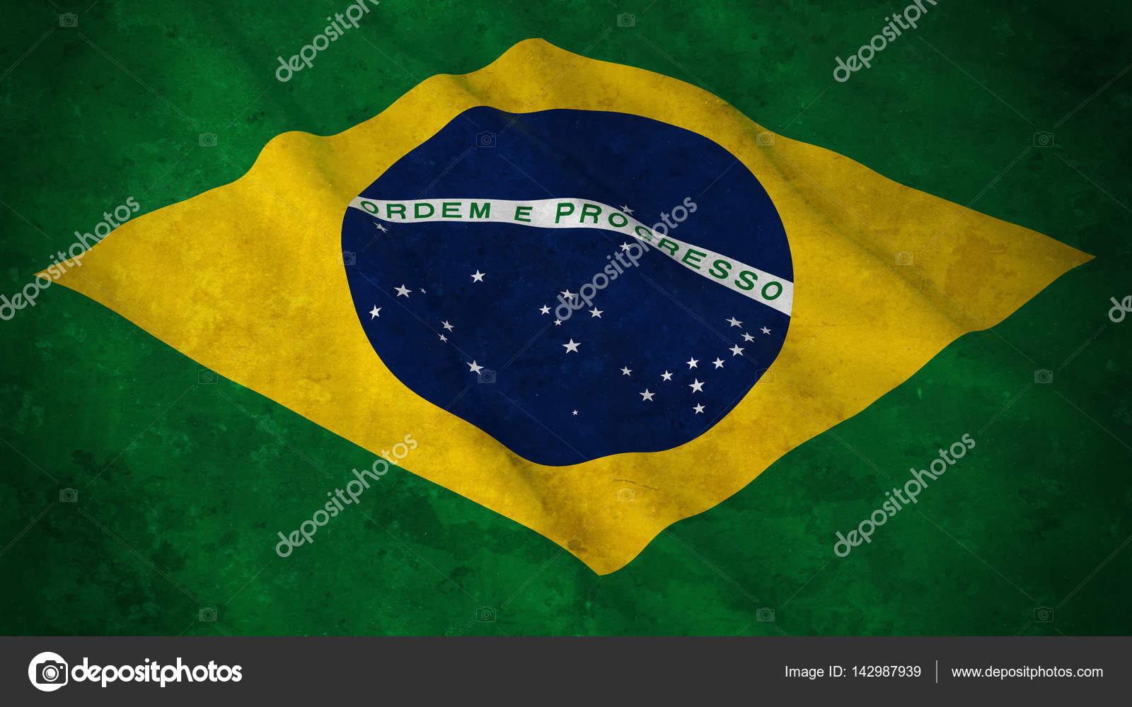 grunge flag of brazil dirty brazilian flag 3d illustration stock