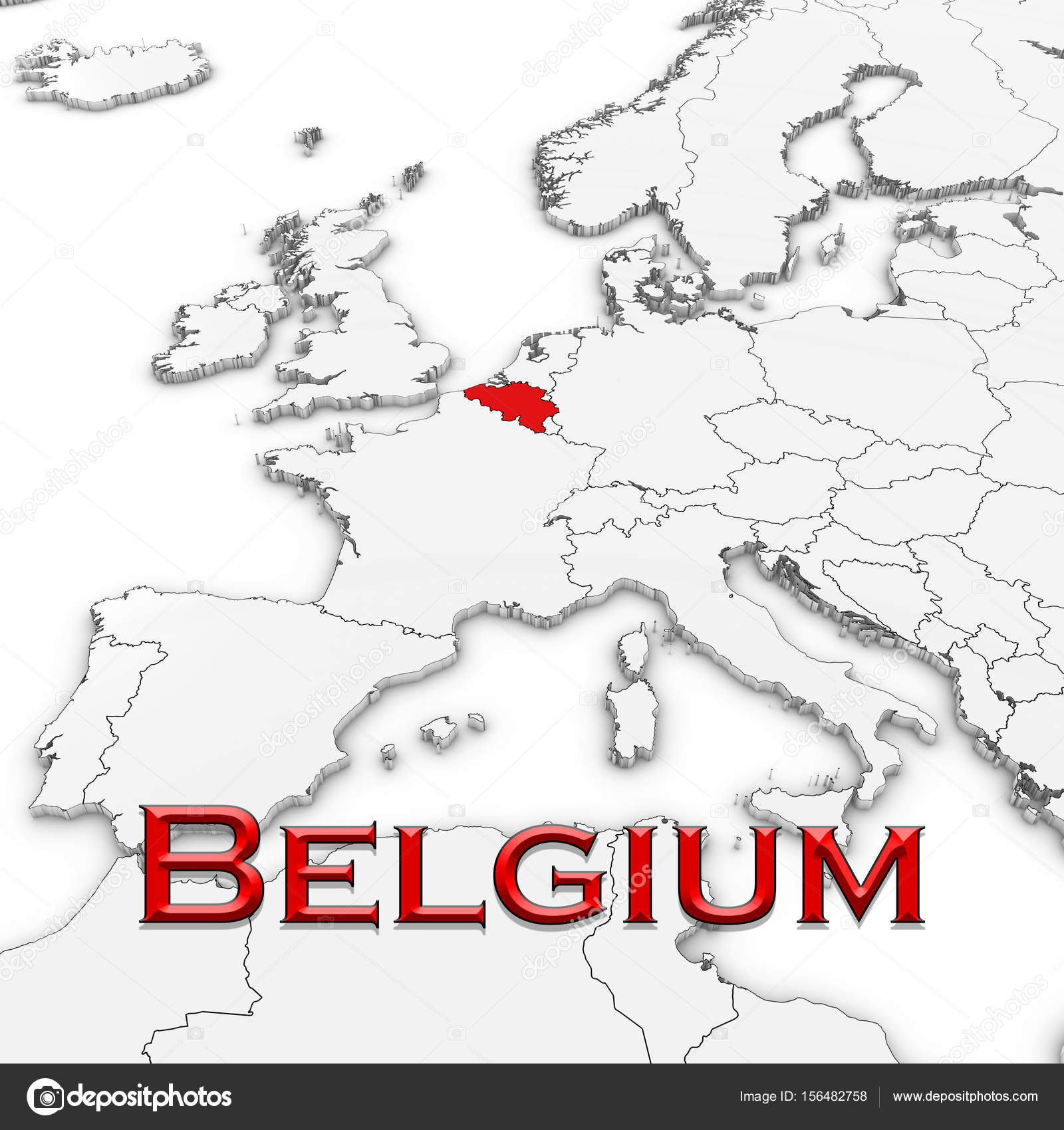 3d map of belgium with country name highlighted red on white 3d map of belgium with country name highlighted red on white background 3d illustration photo by fredex gumiabroncs Image collections