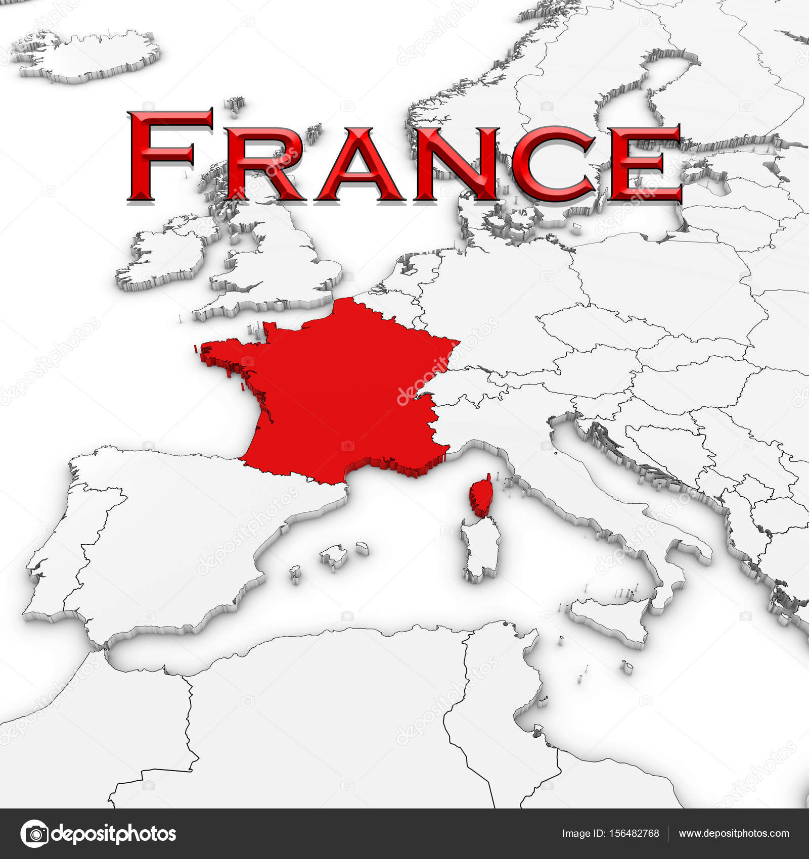 3d map of france with country name highlighted red on white with 3d map of france with country name highlighted red on white with white background 3d illustration photo by fredex gumiabroncs Images