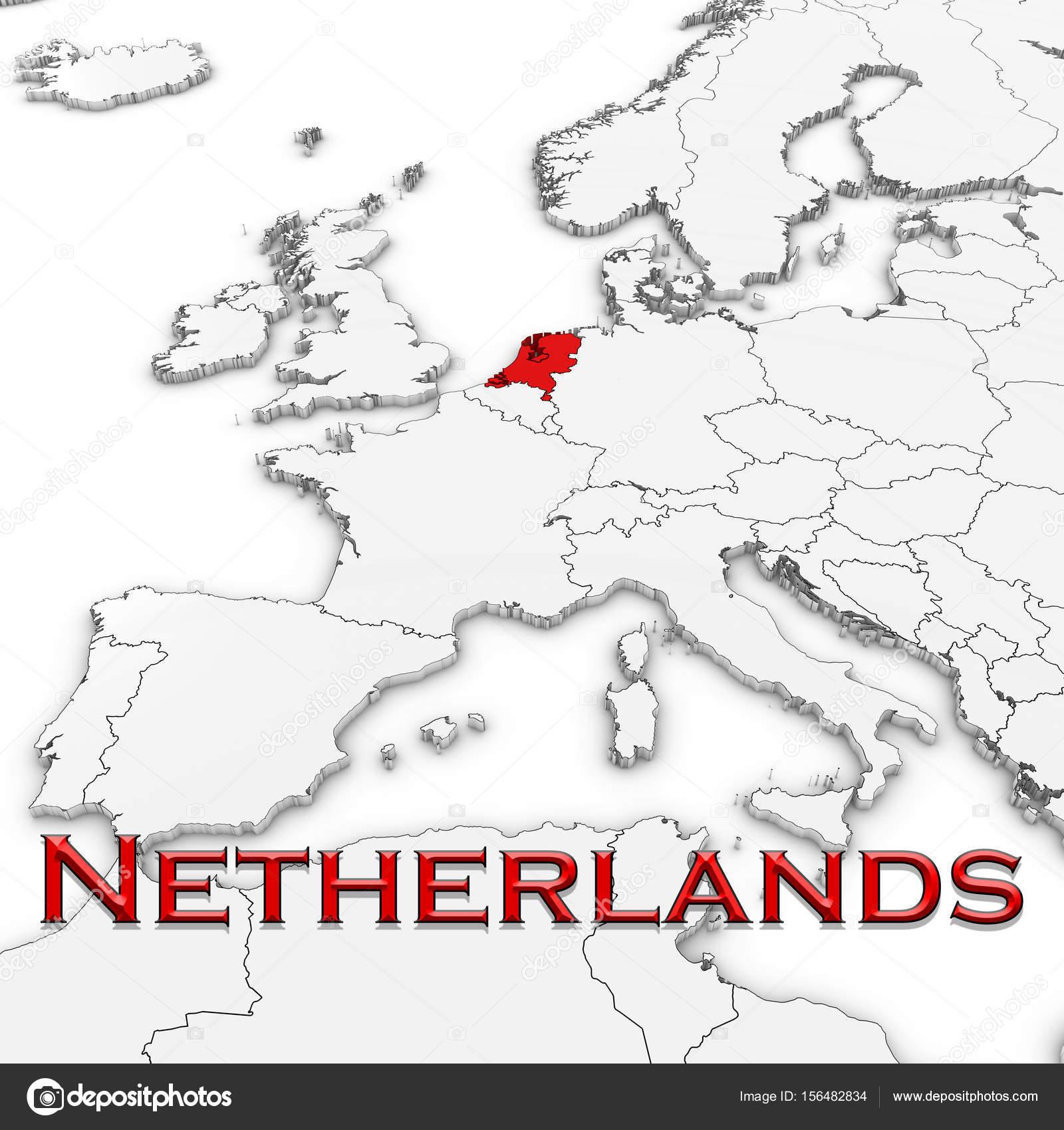 holland térkép 3D s Térkép a holland ország neve Kiemelt piros, fehér, fehér