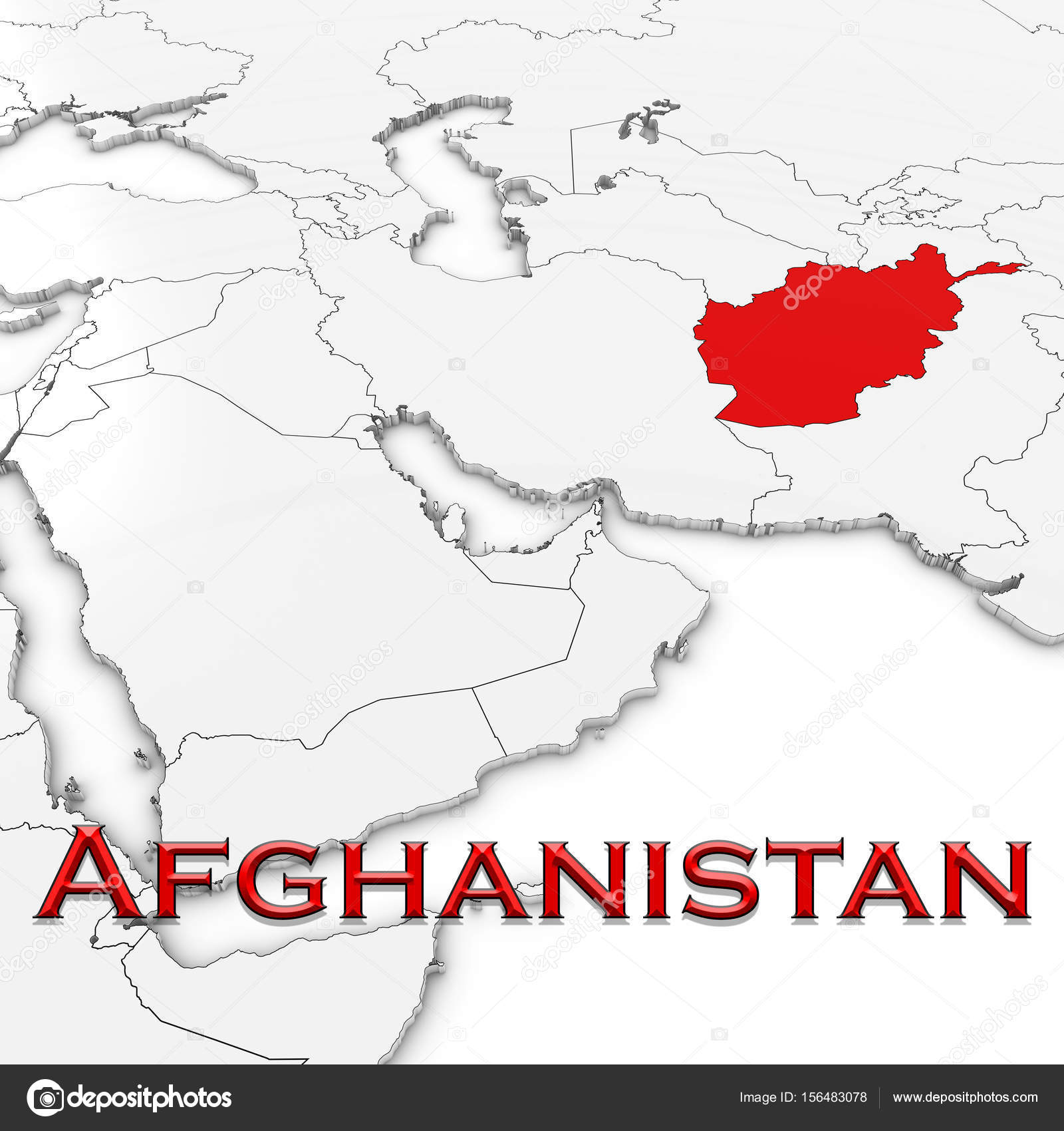 3d map of afghanistan with country name highlighted red on white 3d map of afghanistan with country name highlighted red on white background 3d illustration photo by fredex gumiabroncs Gallery