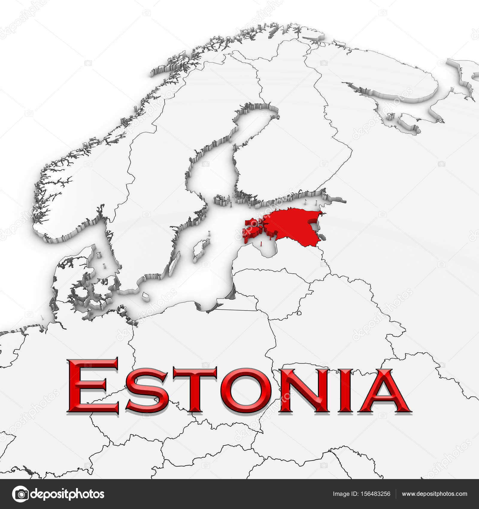 3d map of estonia with country name highlighted red on white background 3d illustration photo by fredex