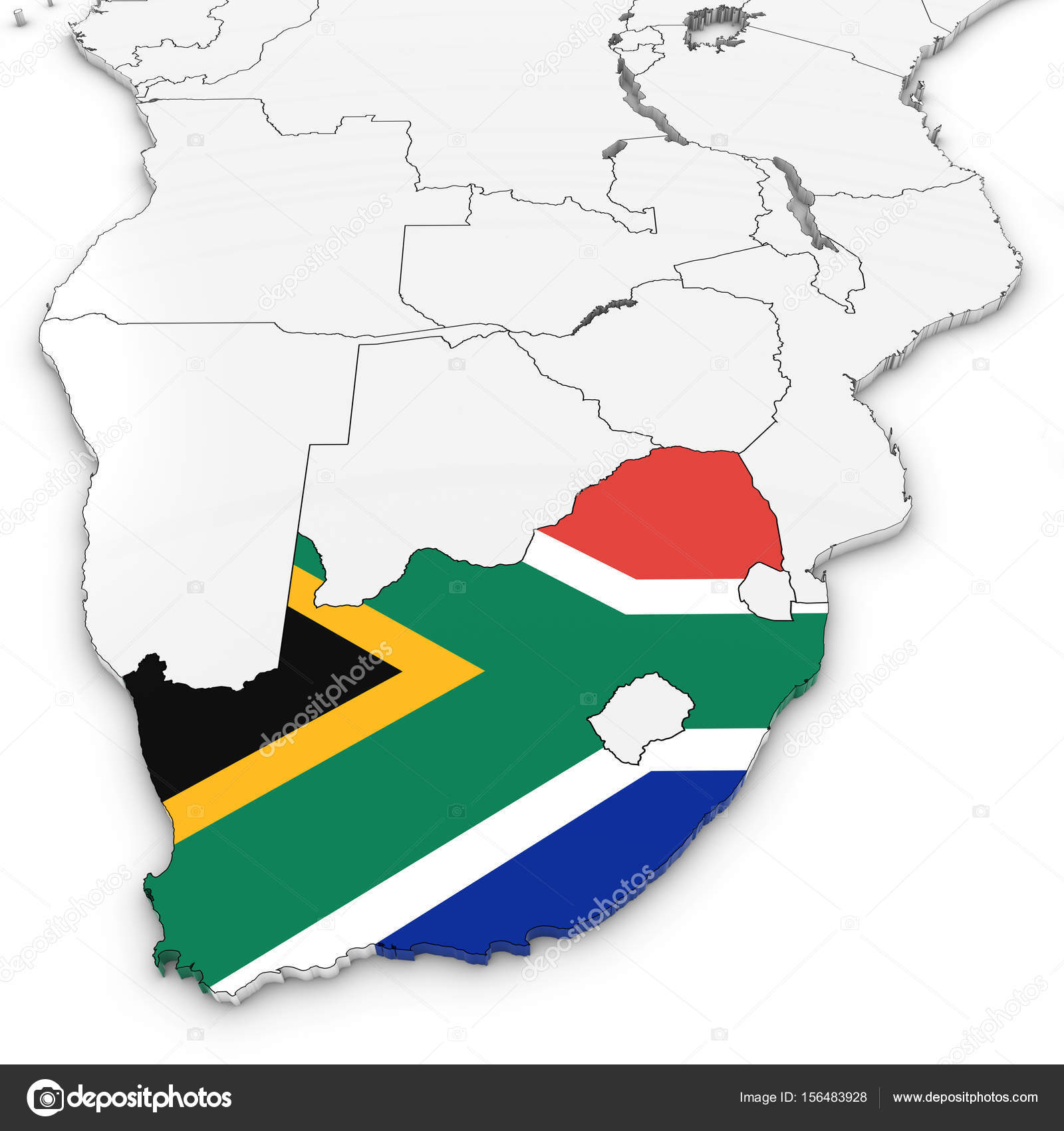3D Map of South Africa with South African Flag on White Backgrou