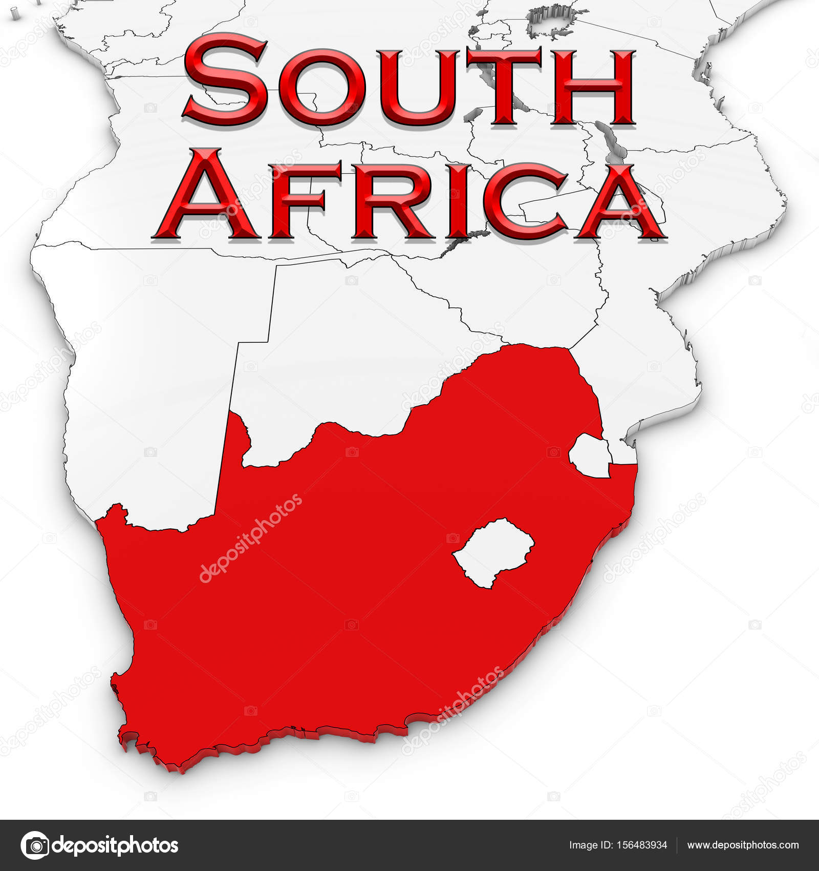 3d map of south africa with country name highlighted red on whit 3d map of south africa with country name highlighted red on whit stock photo gumiabroncs Choice Image