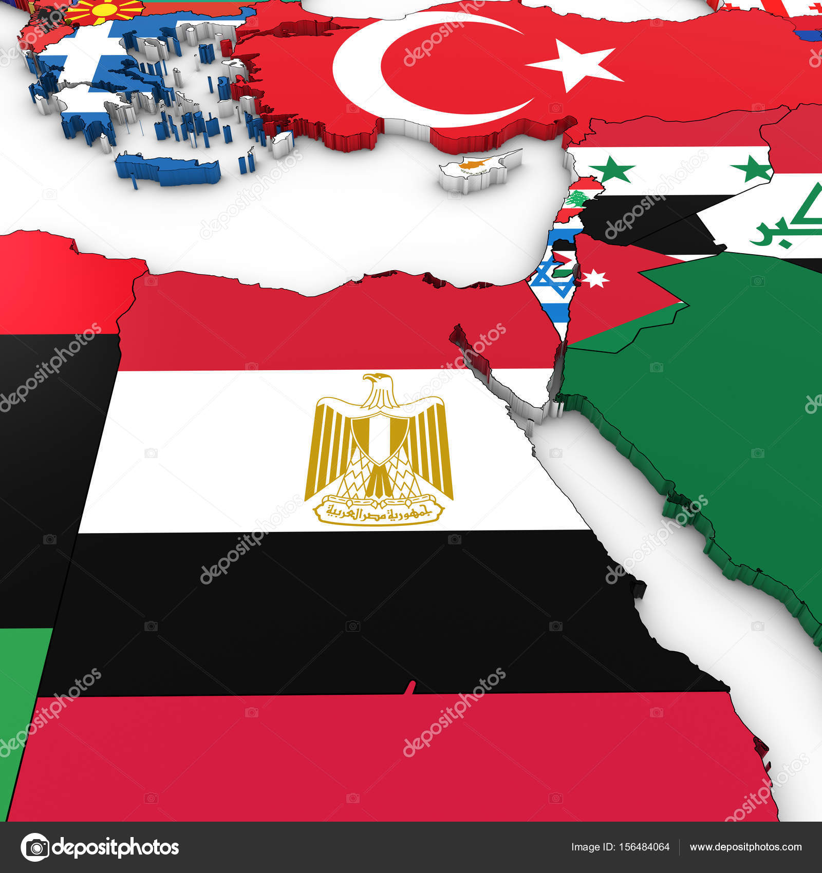 3D Map of North Africa and the Middle East with National Flags o