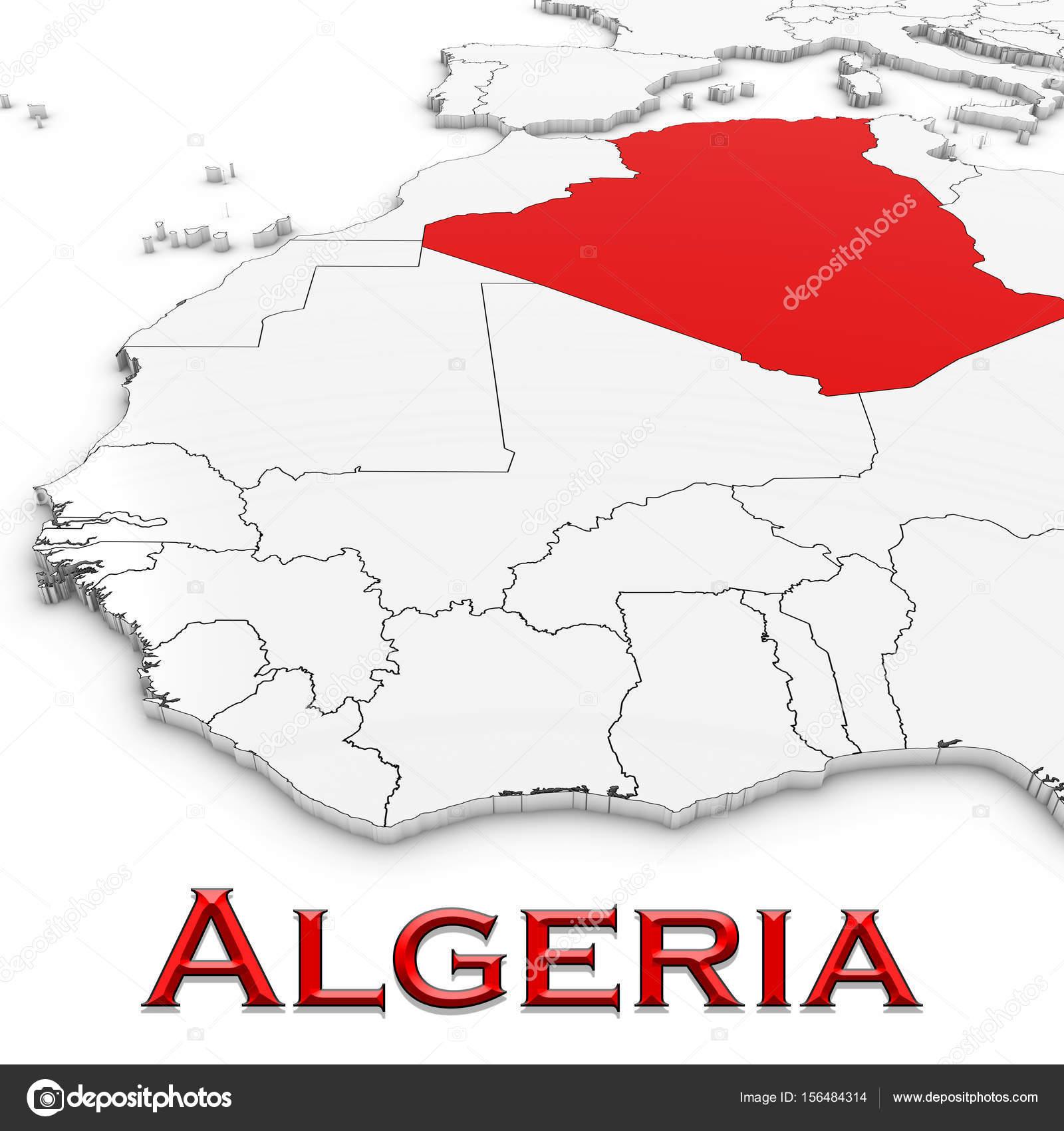 karta över algeriet 3D karta över Algeriet med land namn markerade rött på vit Bac  karta över algeriet