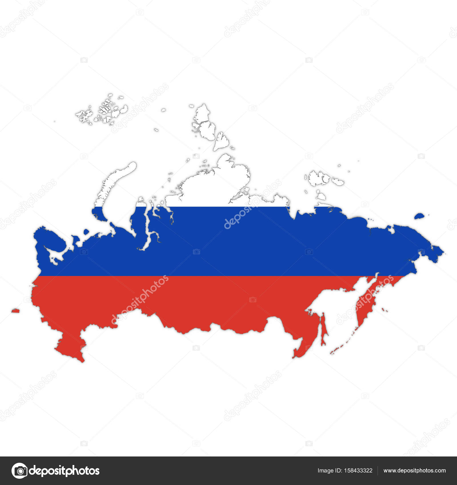 Russia Map Outline with Russian Flag on