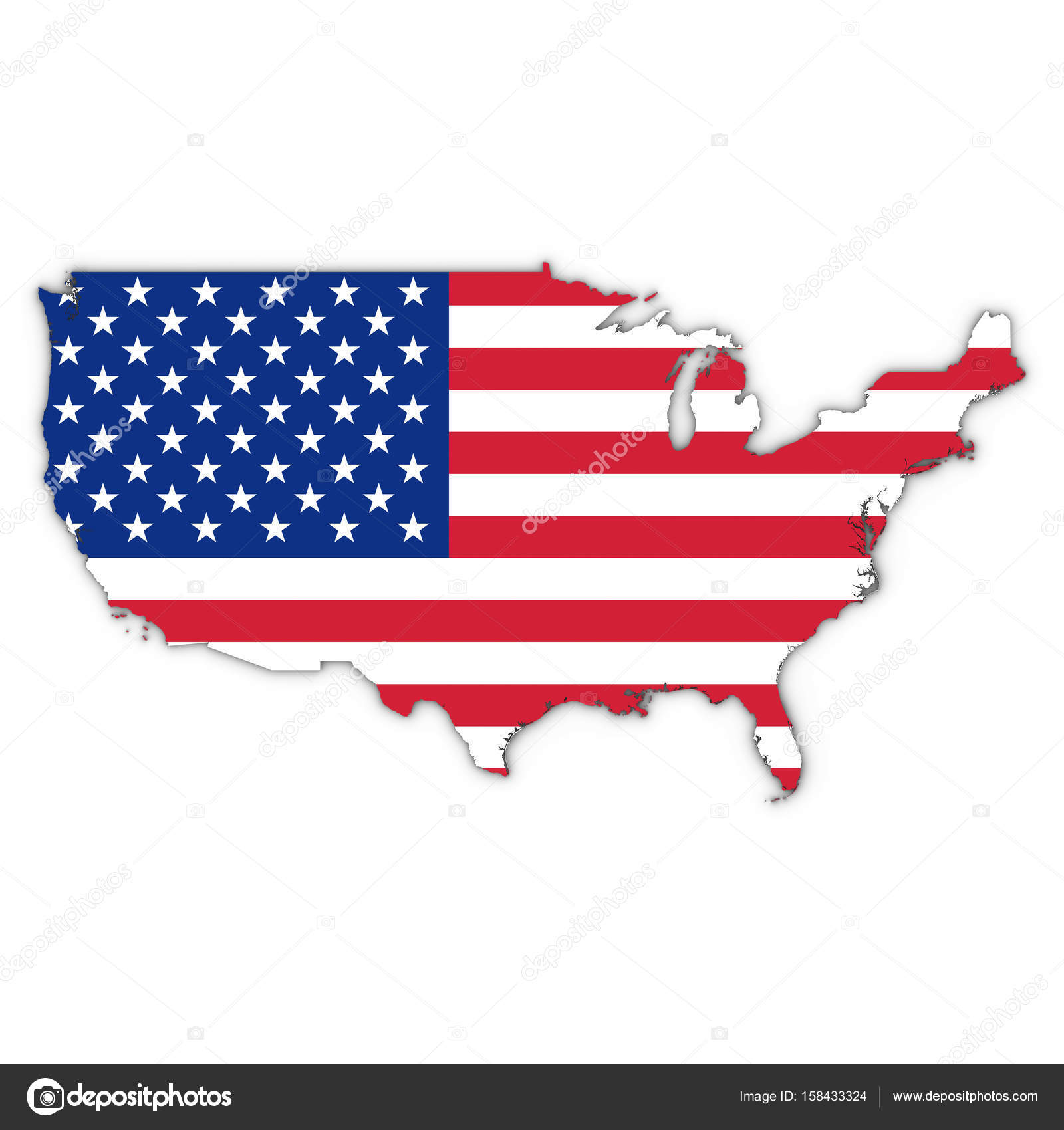 United States Map Outline With American Flag On White With Shado - American-flag-us-map