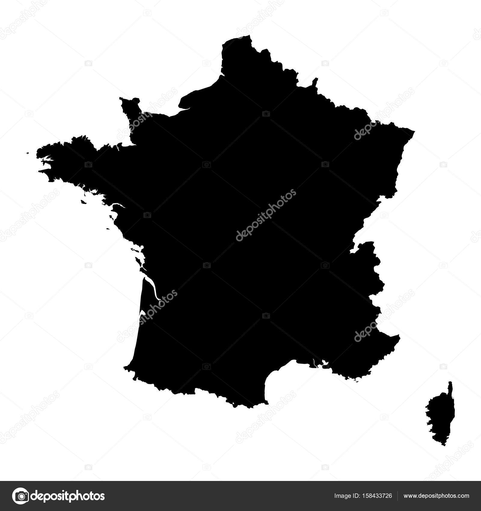 France Black Silhouette Map Outline Isolated On White 3d