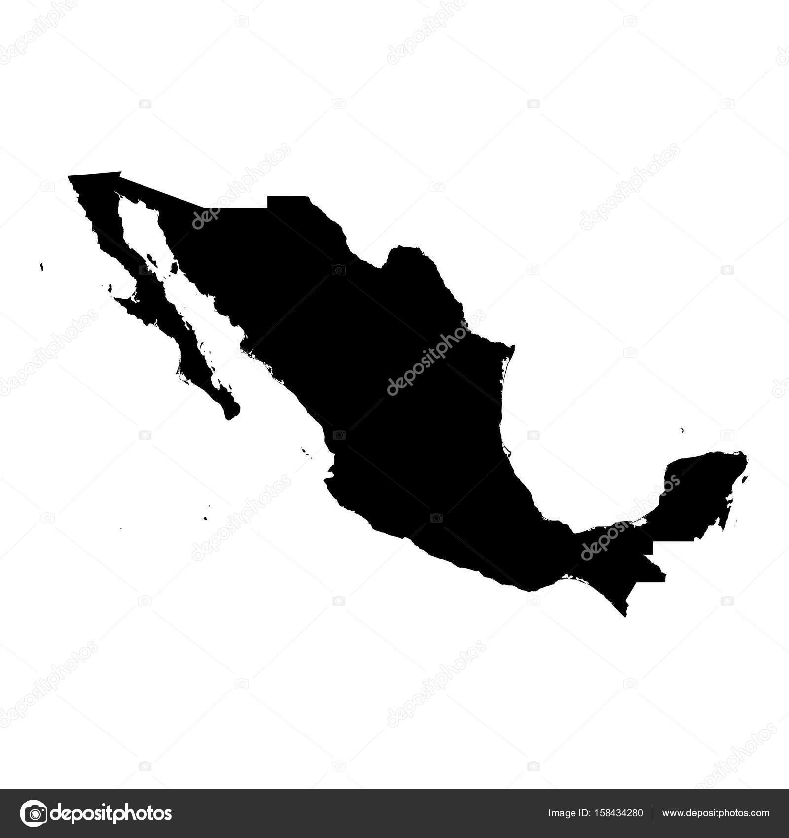 Mexiko Karte Umriss.Mexiko Schwarze Silhouette Karte Umriss Isolated On White