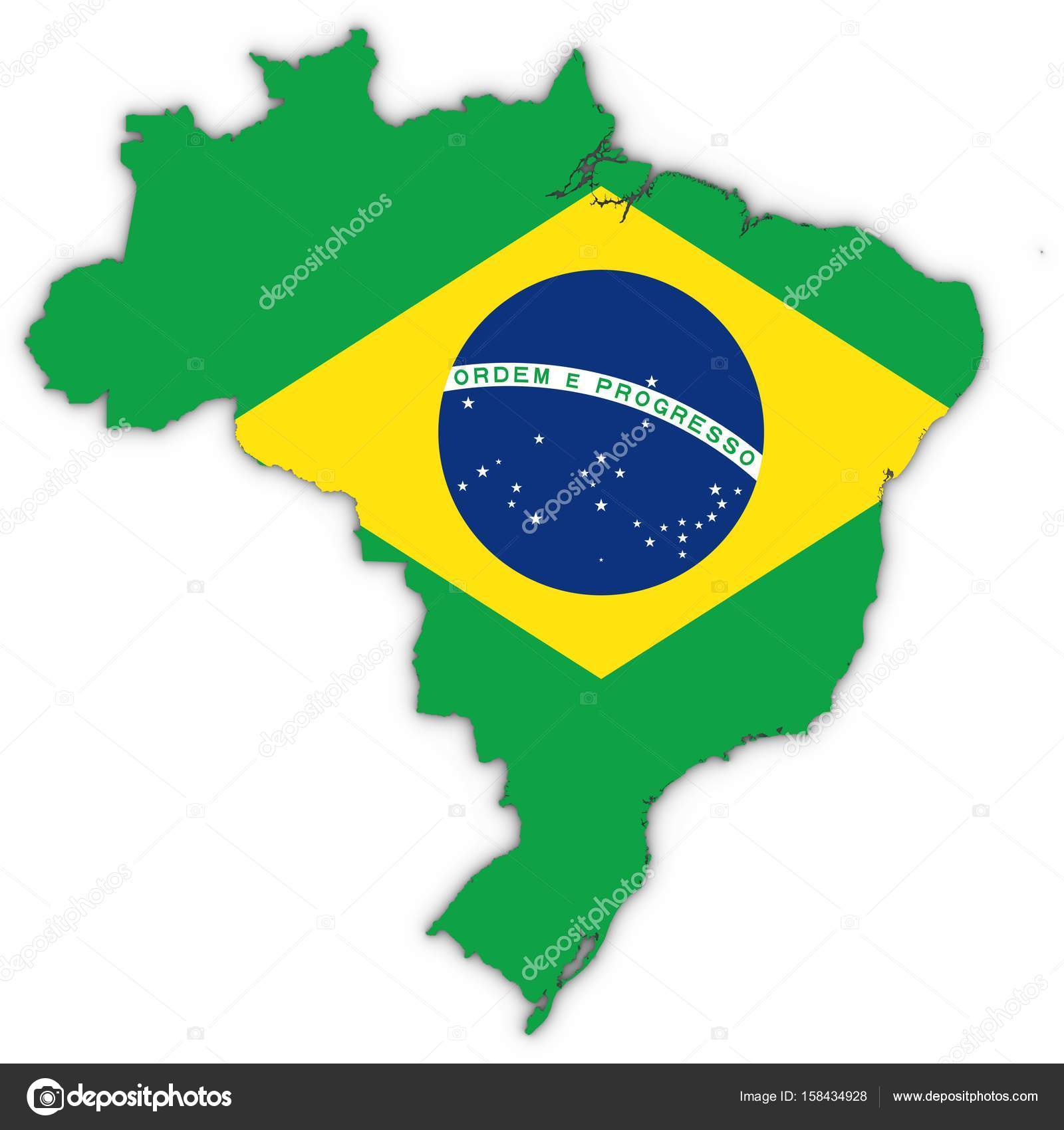 Outline of brazil flag | Brazil Map Outline with Brazilian ...