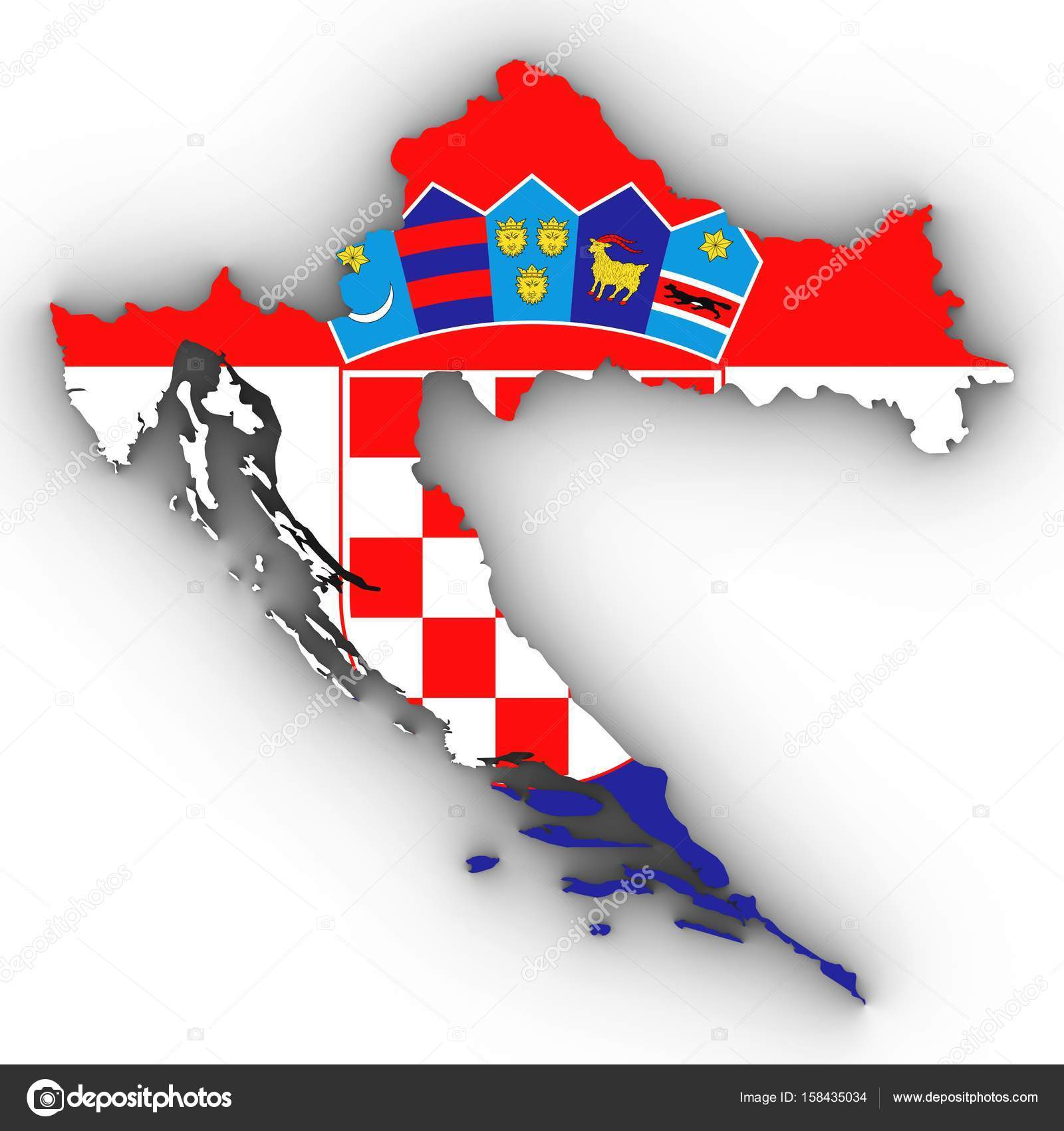 Croatia Map Outline With Croatian Flag On White With Shadows 3d