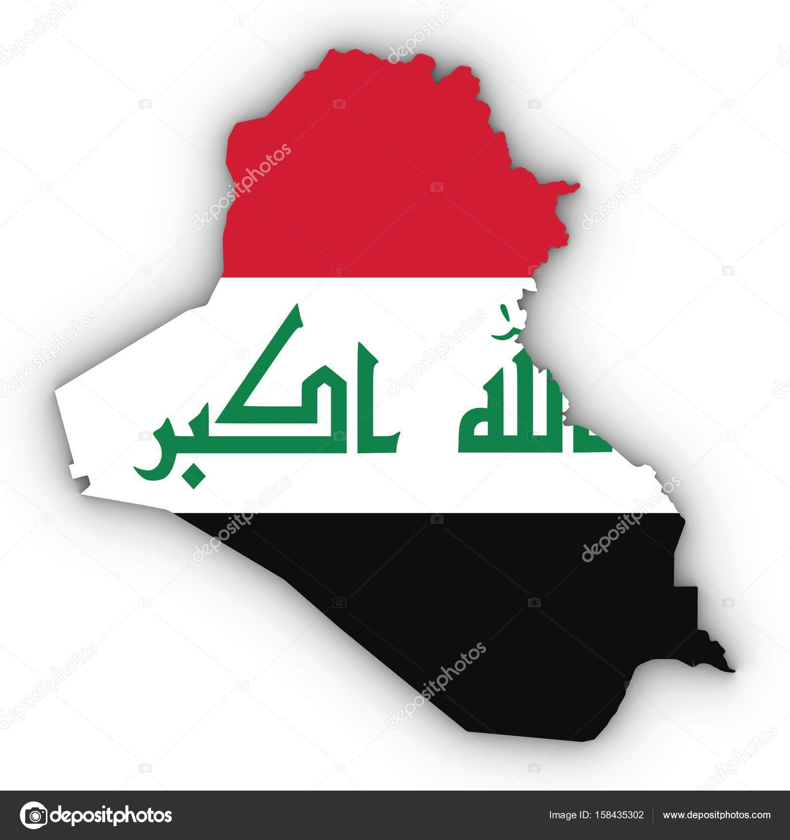 Iraq Map Outline With Iraqi Flag On White With Shadows D Illust - Iraq map outline