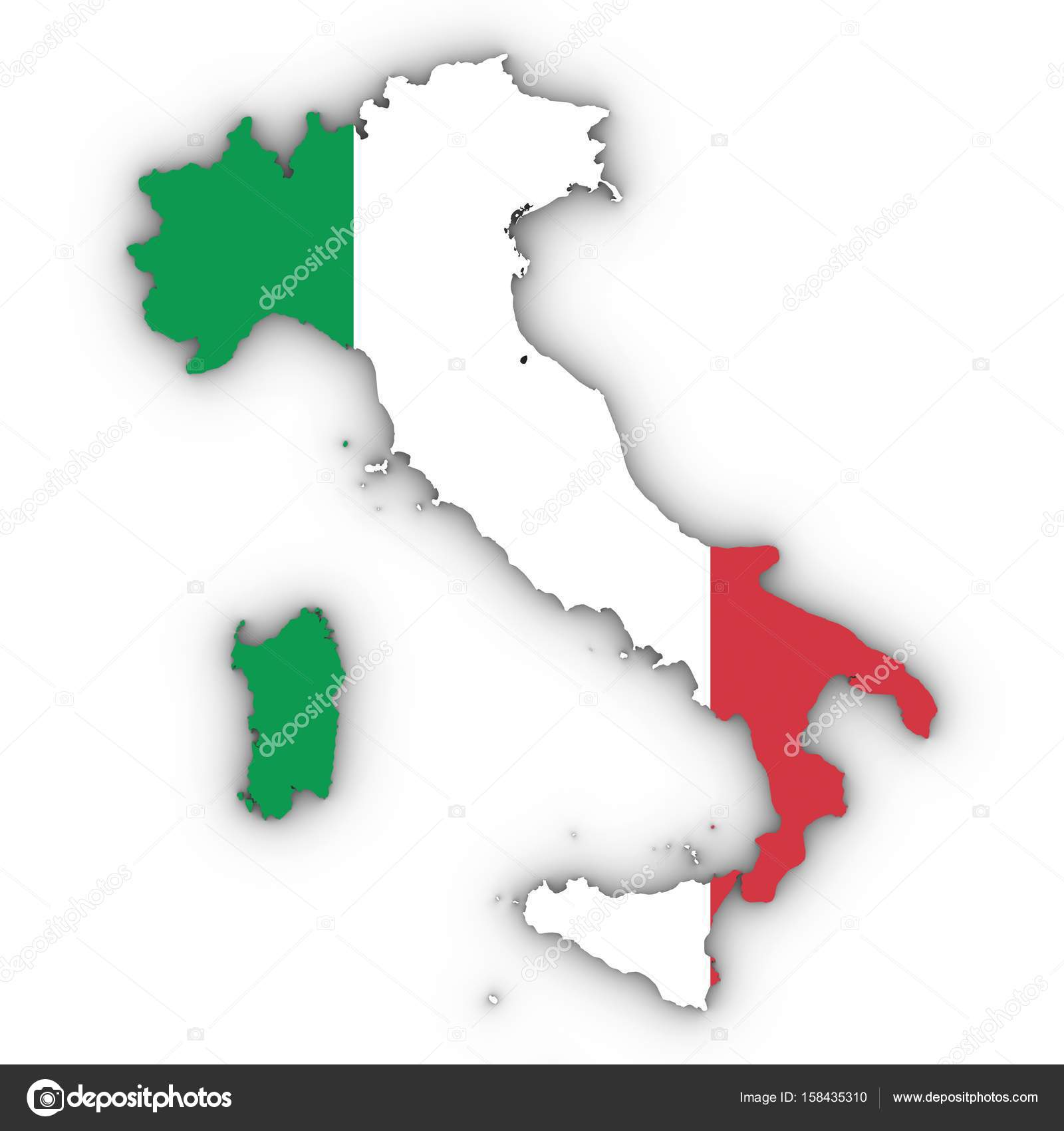 Italy Map Outline With Italian Flag On White With Shadows D Ill - Ill map
