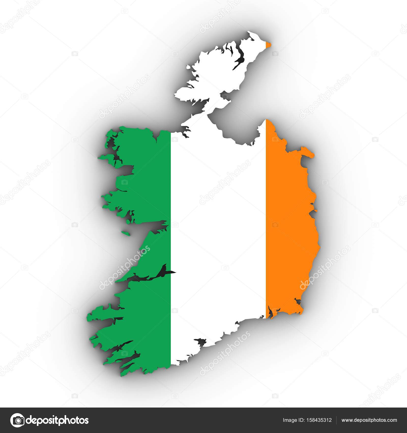 Outline Map Of Ireland.Ireland Map Outline With Irish Flag On White With Shadows 3d Ill