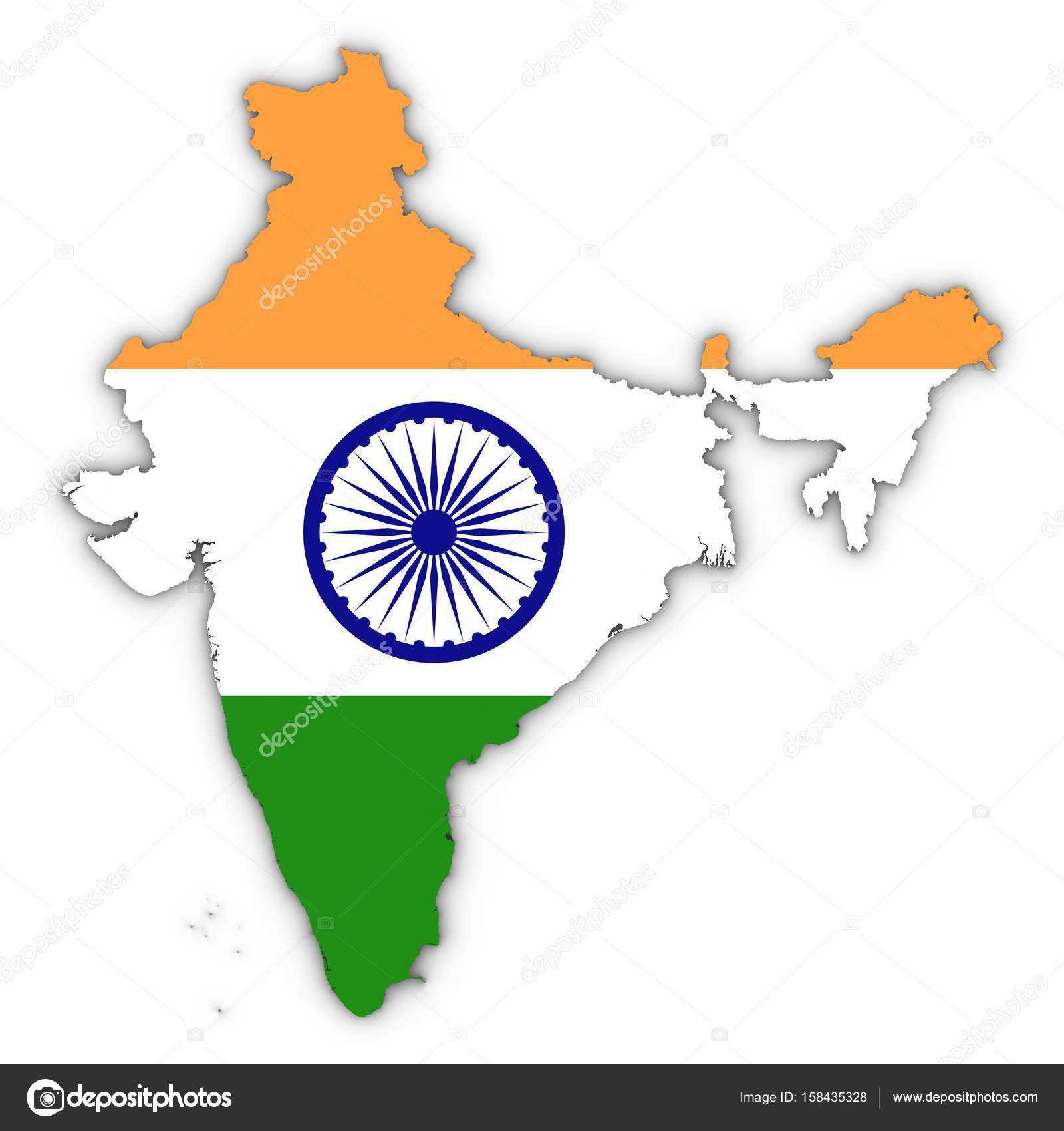 India Map Outline with Indian Flag on White with Shadows 3D Illu